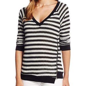 Sanctuary Fawn Stripe Zip Hem Top Sweater